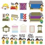 Kimono kauft in Japans Edo-Ära, japanische Version lizenzfreie abbildung