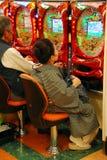 Kimono lady playing games Royalty Free Stock Image