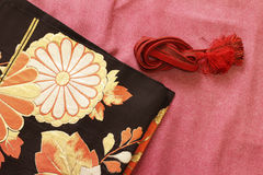 Kimono and obi and banding Royalty Free Stock Photography