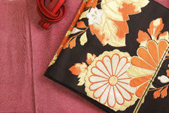 Kimono and obi and banding Royalty Free Stock Images