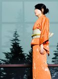 Kimono and pine trees profile Stock Photos