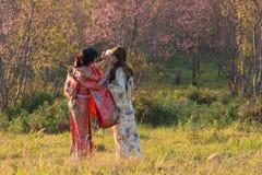 Kimono on sakura garden Royalty Free Stock Images