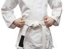 Kimono and a white belt. Royalty Free Stock Photo