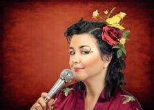 Kimono white woman singing karaoke Royalty Free Stock Photos