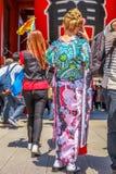 Kimono woman at buddhist temple Stock Photography