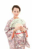 Kimono woman with fan Royalty Free Stock Photography