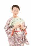 Kimono woman with fan Royalty Free Stock Photography