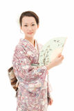 Kimono woman with fan Royalty Free Stock Images