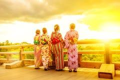 Kimono women in Kiyomizu-dera Royalty Free Stock Photos