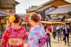 Kimono women in Kyoto Stock Images