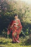 Kimono women standing outdoor Royalty Free Stock Photography