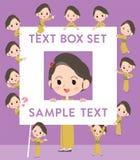 Kimono Yellow ocher woman text box Royalty Free Stock Photos