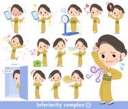 Kimono Yellow ocher women_complex Royalty Free Stock Image