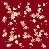 Kimonodesign, japansk illustration för körsbärsröd blomning vektor illustrationer