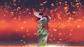 Kimonoflickan i fantasiställe royaltyfri foto