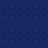Kimonot för sashikoen för indigoblå blått och för vit för sömlöst porslin mönstrar den tappning sydde japanska vektorn stock illustrationer