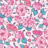 Kimonot för vektorrosa färgblått blommar den sömlösa modellen stock illustrationer