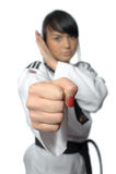 kimonotaekwondo kvinna fotografering för bildbyråer