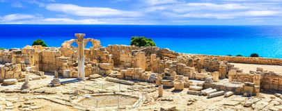 Landmarks of Cyprus island - ancient Kourion archaeological site. KImpressive archeological kourion site,panoramic view,Cyprus island royalty free stock image