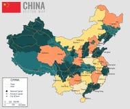 Kina översikt med landskap Alla territorier är valbara vektor vektor illustrationer