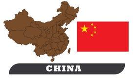 Kina översikt och flagga royaltyfri illustrationer