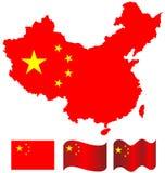 Kina översikt och flagga av Kina Royaltyfri Bild