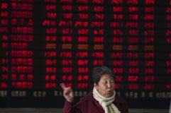 Kina aktiemarknadbang Arkivbilder