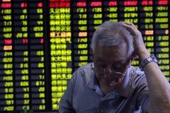 Kina aktiemarknadkrasch Fotografering för Bildbyråer