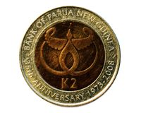 2 Kina (35 Anniversary of the Bank of Papua New Guinea). Obverse. 2008 Royalty Free Stock Photography