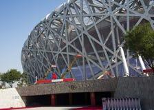 Kina Asien, Peking, den nationella stadion, fågelboet Arkivbilder