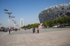 Kina Asien, Peking, den nationella stadion, fågelboet Fotografering för Bildbyråer