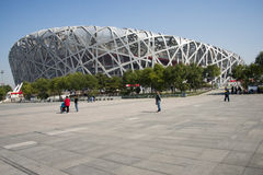 Kina Asien, Peking, den nationella stadion, fågelboet Arkivbild