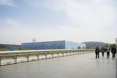Kina Asien, Peking, den olympiska Forest Park, den nationella stadion och mitten för nationell simning Arkivfoton