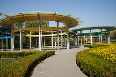 Kina Asien, Peking, den olympiska Forest Park, fem ringer paviljongen Arkivfoton