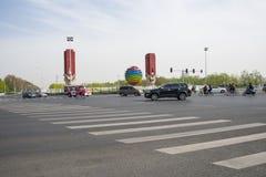 Kina Asien, Peking, den olympiska landskapavenyn, APEC, emblem Royaltyfria Foton