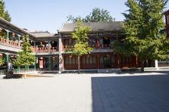 Kina Asien, Peking, den storslagna siktsträdgården, antika byggnader Arkivbild