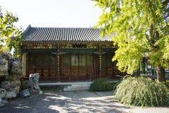 Kina Asien, Peking, den storslagna siktsträdgården, antika byggnader Arkivbilder