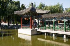 Kina Asien, Peking, den storslagna siktsträdgården, antika byggnader Arkivfoto