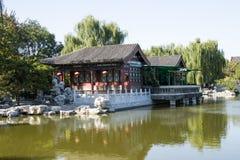 Kina Asien, Peking, den storslagna siktsträdgården, antika byggnader Royaltyfria Foton