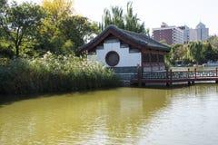 Kina Asien, Peking, den storslagna siktsträdgården, antika byggnader Arkivfoton