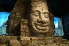 Kina Asien, Peking, huvudmuseet, Kampuchea Angkor reliker och Art Exhibition Royaltyfri Fotografi