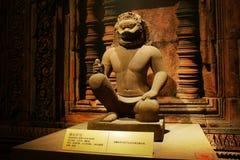 Kina Asien, Peking, huvudmuseet, Kampuchea Angkor reliker och Art Exhibition Royaltyfri Bild