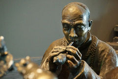 Kina Asien, Peking, huvudmuseet, skulptur, gammal Peking, folk affärsman Royaltyfria Bilder