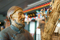 Kina Asien, Peking, huvudmuseet, skulptur, gammal Peking, folk kunder Arkivbilder