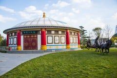 Kina Asien, Peking, Mongoliet trädgårds- expo, packe, skulptur, lasso en häst Arkivbilder