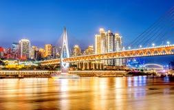 Kina Chongqing City Lights Arkivbilder