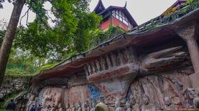 Kina Chongqing Dazu Rock Carvings arkivbilder