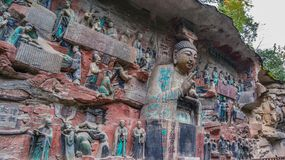 Kina Chongqing Dazu Rock Carvings, arkivbilder