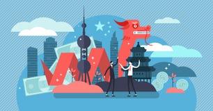 Kina ekonomisk tillväxt och kulturbegrepp, plan mycket liten personvektorillustration royaltyfri illustrationer