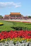 Kina förbereder sig för 90th på Tiananmen arkivbild